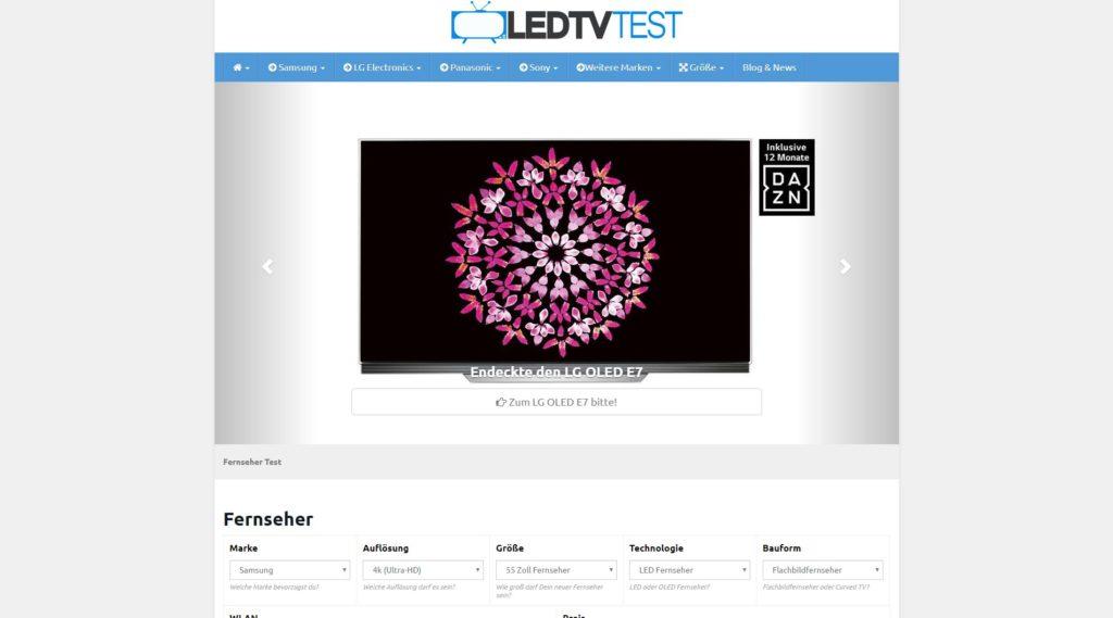 ledtv-test.de Startseite und Slider